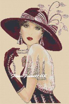Cross stitch chart Art Deco Lady Flapper -No.35 FlowerPower37-uk FREE UK P&P   eBay