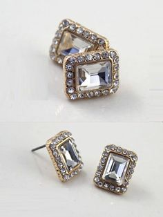 #CRYSTAL #FACETED #JEWELRY #STUD #EARRINGS