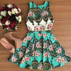 Sweet Round Collar Sleeveless Floral Print Women's A-Line Dress