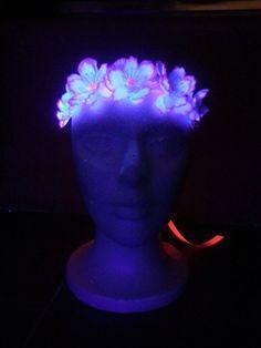d9add0041850 UV Black Light Reactive Ribbons Flowers - Festival Headbands