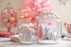 deer. jar. snow. pink. #kitsch #christmas #winter