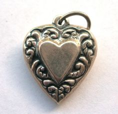 Sterling Silver Puffy Heart Pendant or Charm with by hatstoflats, $19.99