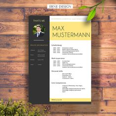 Modern Resume Template for WORD or PS / CV Template  by ErneDesign …