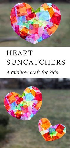 In love with this beautiful Rainbow Heart Suncatcher craft! Made with tissue paper and glue, this easy Valentine's Day craft for kids is perfect for home or the classroom. prevention for kids Rainbow Heart Suncatchers with Heart Template Valentine's Day Crafts For Kids, Valentine Crafts For Kids, Mothers Day Crafts, Holiday Crafts, Homemade Valentines, Valentine Wreath, Valentines Day Party, Crafts Home, Easter Crafts