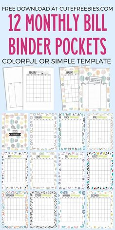 Free Printable Monthly Bill Organizer - Cute Freebies For You Bill Payment Organization, Sticker Organization, Binder Organization, Free Printable Calendar, Printable Planner, Free Printables, Printable Budget, Budget Binder, Budget Planner