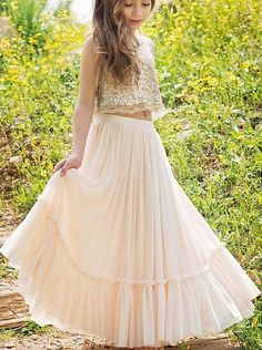 Buy Two Pieces Sequin Top Blush Pink Chiffon Skirt Sleeveless Floor-Length Flower Girl Dress on https://www.promdress.me.uk/