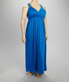 Another great find on #zulily! Electric Blue Crochet Back Maxi Dress - Plus by Allison Brittney #zulilyfinds