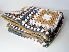 vintage crochet afghan blanket - autumn colors - blue tan flax plum teal grey white - 1980s - $35.00