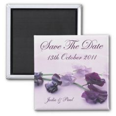 Purple Flowers - Save The Date Refrigerator Magnets