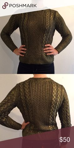 Michael Kors gold foiled sweater Gold foiled over black sweater by Michael Kors. Size small. 52% cotton 45% viscose Michael Kors Sweaters Crew & Scoop Necks