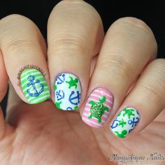 Summer Nails with Turtles and Anchors