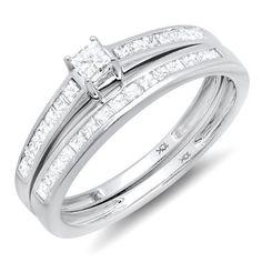 0.75 Carat (ctw) 10k White Gold Brilliant Princess Diamond Ladies Bridal Engagement Ring Set 3/4 CT (Size 7) null,http://www.amazon.com/dp/B009G0PZE6/ref=cm_sw_r_pi_dp_m3QOrb3737E447B3