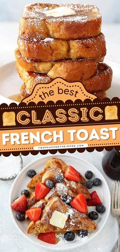 Once you learn how to make the Classic French Toast Recipe, you'll be a fan for life! This simple recipe is perfect for lazy mornings with the fam. Add this sweet breakfast idea to your Christmas brunch recipes! French Toast Batter, Fluffy French Toast, French Bread French Toast, Homemade French Toast, Breakfast Casserole Easy, Sweet Breakfast, Perfect Breakfast, Breakfast Ideas, Healthy Oatmeal Recipes