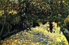 Red Chestnuts in the Public Park at Arles, 1889. Van Gogh. VAN GOGH EN MINIATURA (TILT-SHIFT). REHACIENDO ARTE.