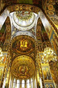 Interior of The Cathedral of the Resurrection - St Petersburg, Russia