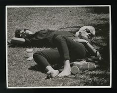 Beatnik girls on the grass 1950s stock image