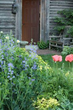 Lovely rustic back door entrance with bench and flower bed. Back Door Entrance, Back Doors, Colonial Garden, Garden Front Of House, Fruit Garden, Garden Gates, Flower Beds, Bird Houses, Beautiful Landscapes