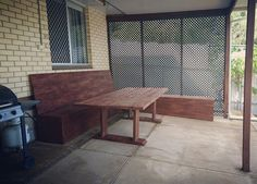 Outdoor sitting area. Viking table and L shaped seating area