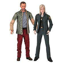 "Battlestar Galactica: Leoben & Starbuck Action Figure Two-Pack by Diamond Comic Distributors. $29.99. Figures feature detailed facial sculpts and series-specific accessories. Each figure stands 7"" tall. Each figure has 18 articulation points. Figure 2-pack contains Starbuck and Leoben the Cylon. Battlestar Galactica's four-season run on The Sci-Fi Channel has been applauded by fans and critics alike. From the Manufacturer                A Diamond Select Release!  Welcome the fi..."