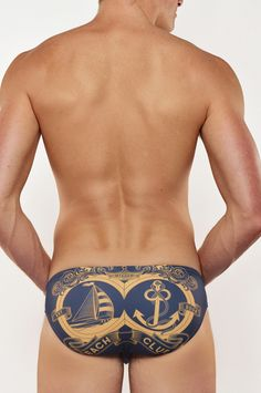 2EROS - V10.26 Beach Club Swim Brief - Navy - back