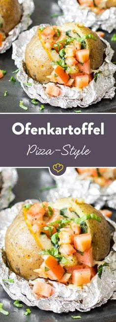 """Ofenkartoffel """"Pizza-Style"""" mit Tomate-Mozzarella-Füllung Delicately melting Mozarella, fruity tomatoes and spicy oregano fill a steaming baked potato – the slightly different temptation for pizza fans. Potato Recipes, Vegetable Recipes, Mozarella, Tomate Mozzarella, Pizza Style, Healthy Grilling Recipes, Good Pizza, Different Recipes, Cooking"""