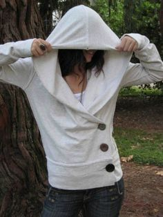 "DIY Over Sized Sweatershirt ""liposuction.""  How To Resize a Large Sweater into a Cute Fitted Button Hoodie Tutorial."