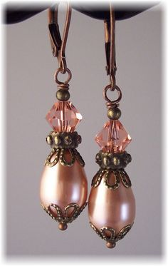New Swarovski Rose Peach Crystal/Pearl by HisJewelsCreations, $22.00