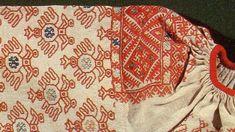 Стан праздничной женской рубахи. Первая половина XIX  в. Фрагмент. Холст, кумач, шелковые, шерстяные, х.-б. нити. Двусторонний шов, набор. ...