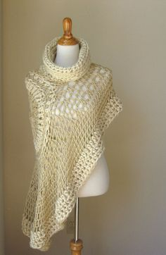 BEIGE BOHEMIAN PONCHO Crochet Knit Cream Cape Shawl by marianavail