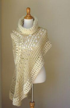 BEIGE BOHEMIAN PONCHO Crochet Knit Cream Cape Shawl by marianavail