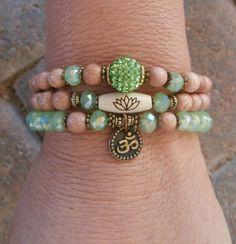 Set of 3 Yoga bracelets Choose word Om Pave by LifeForceEnergy, $32.00