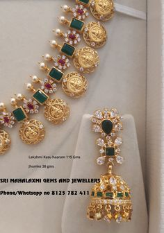 Gold Jewelry Design In India Product Gold Temple Jewellery, Gold Jewellery Design, Gold Jewelry, Beaded Jewelry, Gold Necklace, Emerald Necklace, Diamond Necklaces, Jewlery, Jewelry Necklaces
