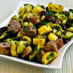 Recipe for Grilled Sausage and Summer Squash with Herbs, Capers, Kalamata Olives, and Lemon [#SouthBeachDiet friendly #Recipe from Kalyns Kitchen; visit the blog to see step-by-step photos for this recipe.]