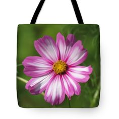 "Cosmos on Green Tote Bag 18"" x 18"""