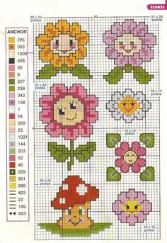 Cross-stitch flowers and mushroom
