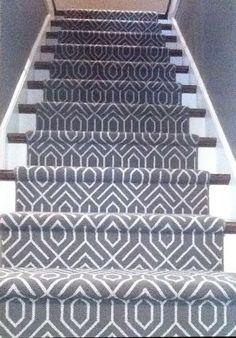 Geometric Carpet Runner on Stairway Stairway Carpet, Hallway Carpet, Bedroom Carpet, Living Room Carpet, Hallway Flooring, Wall Carpet, Carpet Flooring, Contemporary Stairs, Modern Staircase