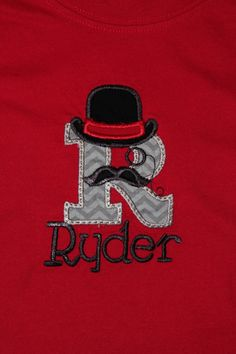 Mustache Letter T Shirt  Initial in a hat and by BirdieJamesEandS, $18.95