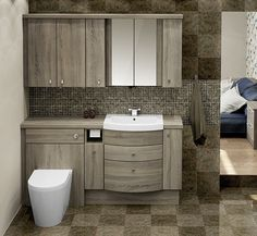 Bardolino Oak Fitted Bathroom Furniture - Enjoy the tranquillity of a spacious, uncluttered bathroom by combining a range of door and drawer units for storage options - great for a family bathroom! Bathroom Vanity Units, Bathroom Photos, Dream Bathrooms, Bathroom Storage, Bathroom Ideas, Fitted Bathrooms, Loft Bathroom, Timeless Bathroom, Modern Bathroom