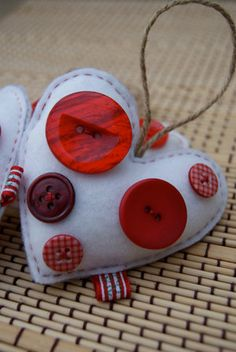 Button and Felt Heart Ornaments