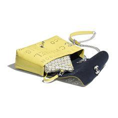 46a13d7efc7c Calfskin, Eyelet, Tweed & Silver-Tone Metal White, Green & Yellow Flap Bag