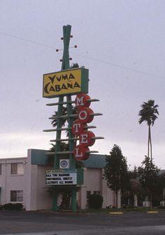 Yuma Cabana Motel, Yuma CA Cool Neon Signs, Vintage Neon Signs, Vintage Ads, Googie, Motel, Cabana, Midcentury Modern, Signage, Art Deco