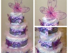 371ac9da2195 Items similar to Butterfly Diaper Cake Baby Shower Centerpiece Gift on Etsy