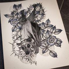 Bat by Cat by Meatshop-Tattoo Wiccan Tattoos, Pagan Tattoo, Celtic Tattoos, Wiccan Symbols, Mayan Symbols, Viking Symbols, Egyptian Symbols, Viking Runes, Ancient Symbols
