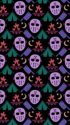"Halloween Wallpaper Patterns Guess what day it is tomorrow? MY BIRTHDAY! Oh, and Friday the of corpes. Get ready with my new ""Camping with JV"" pattern. Feel free to save as your phone lock screen. *For Personal Use ONLY. Halloween Horror, Halloween Art, Halloween Themes, Vintage Halloween, Halloween 2019, Halloween Wallpaper Iphone, Holiday Wallpaper, Halloween Backgrounds, Cellphone Wallpaper"