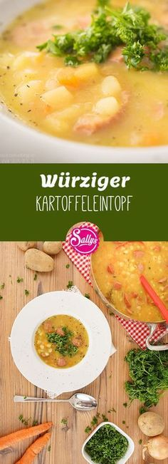 Ein One-Pot-Rezept für kalte Tage: der Kartoffeleintopf ist im Handumdrehen aus… A one-pot recipe for cold days: the potato stew is instantly made from simple ingredients. He receives a special note by the Wursteinlage, which can also be omitted at will. Lacto Vegetarian Diet, Vegetarian Recipes, Raw Food Recipes, Pasta Recipes, Soy Meat, Stewed Potatoes, One Pot Pasta, One Pot Meals, Different Recipes