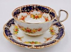 VINTAGE ROYAL STANDARD TEA CUP IMARI PATTERN FINE BONE CHINA COBALT BORDER