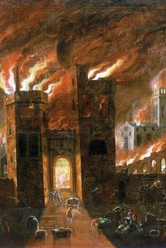 The Great Fire of London, 1666. To the right the old St Paul's Cathedral can be seen burning.
