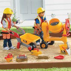 Adorable construction set!  Benjamin would love pushing the wheelbarrow!