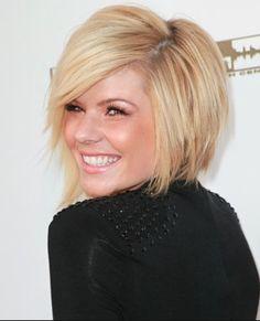 Kimberly Caldwell's adorable haircut! Asymmetrical bob/blonde, summer perfecto!