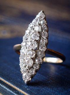 Victorian Old Cut Diamond Navette Ring